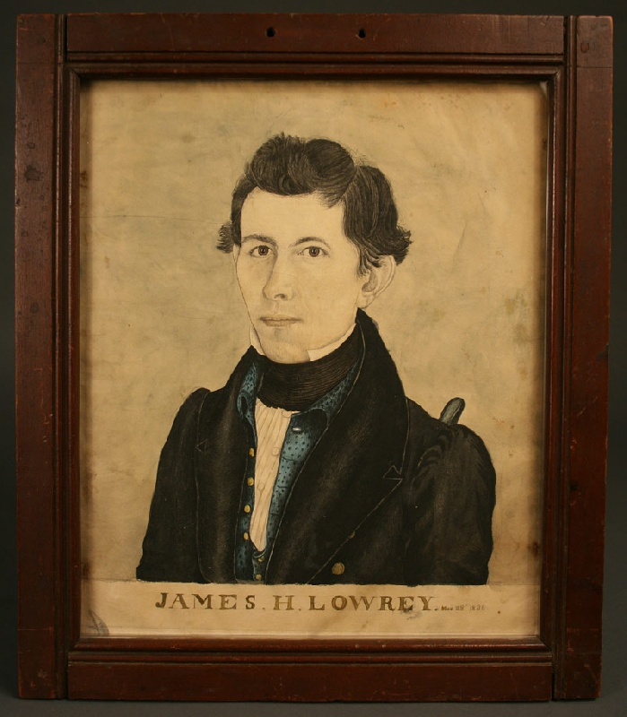 Important Southern watercolor of James Lowrey, 1836