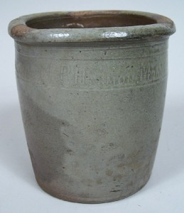 "Tennessee pottery jar, marked ""M P Harmon"", Greene Co., TN, small size (lot#138) - Image 4"