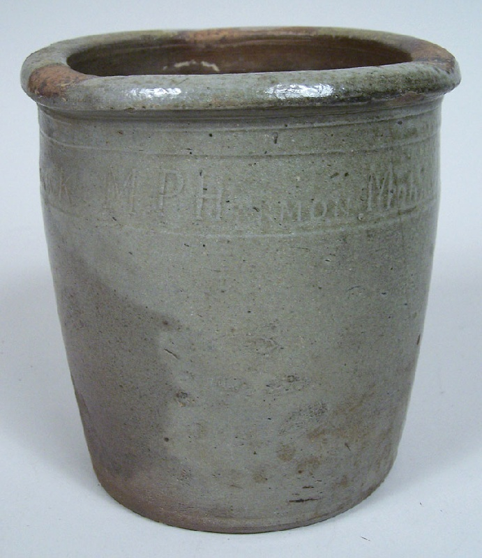 "Tennessee pottery jar, marked ""M P Harmon"", Greene Co., TN, small size (lot#138)"