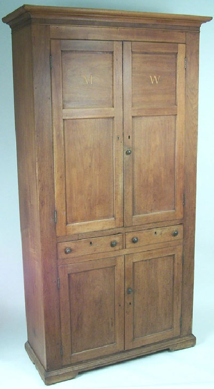 Early Southern inlaid cupboard from Overton County, Tennessee (lot#11)