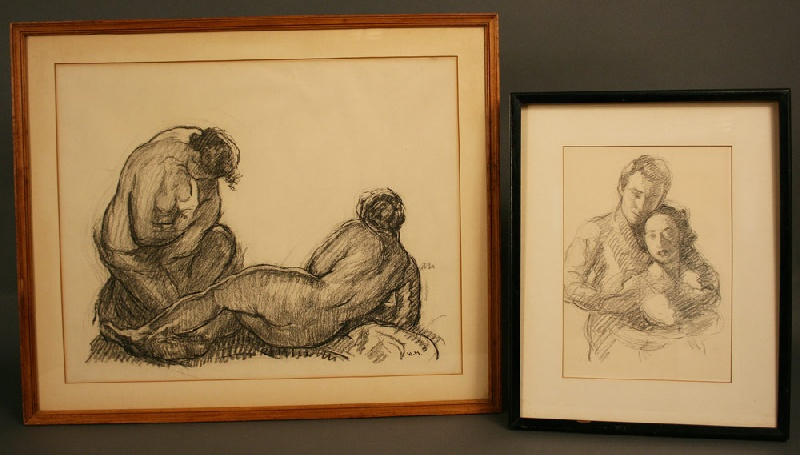 Two William Malherbe charcoal and pencil drawings (American, 1884 – 1951)