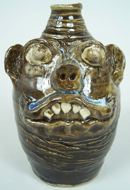 Southern folk pottery face jug by Marie Rogers (lot#224)