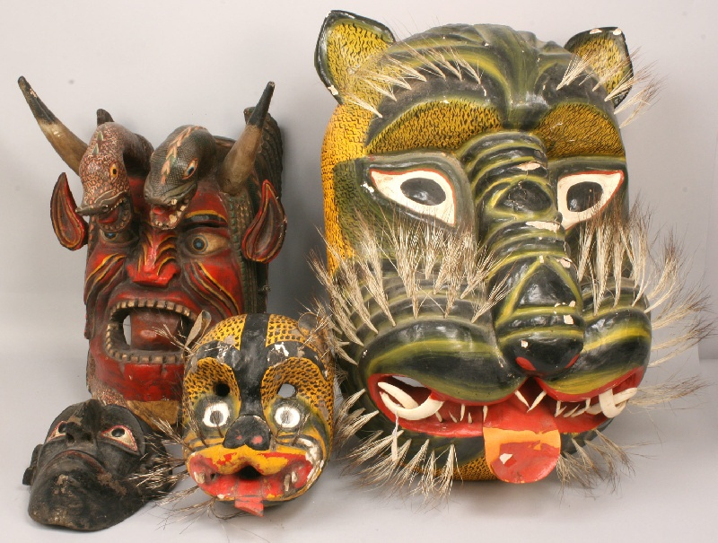 Sampling of a large collection of Mexican masks, museum deaccession