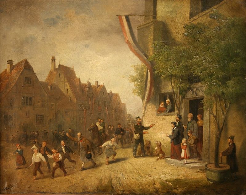 Oil on canvas of French parade, signed H. Miller 1871