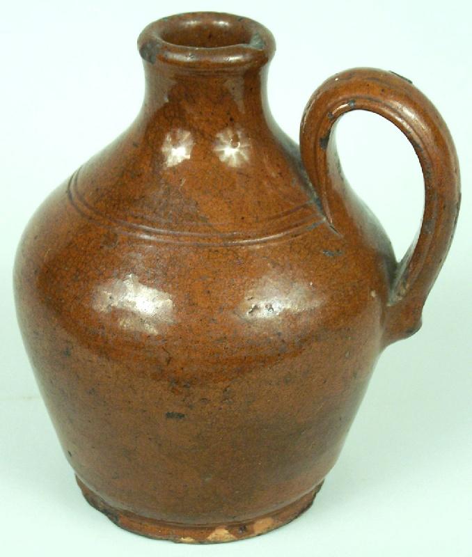 North Carolina Moravian redware jug, possibly Rudolph Christ  (lot#41)