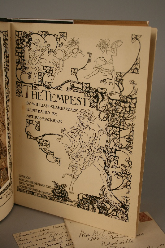 """Arthur Rackham illustrated book, """"The Tempest"""" and hand signed letter by Rackham"""