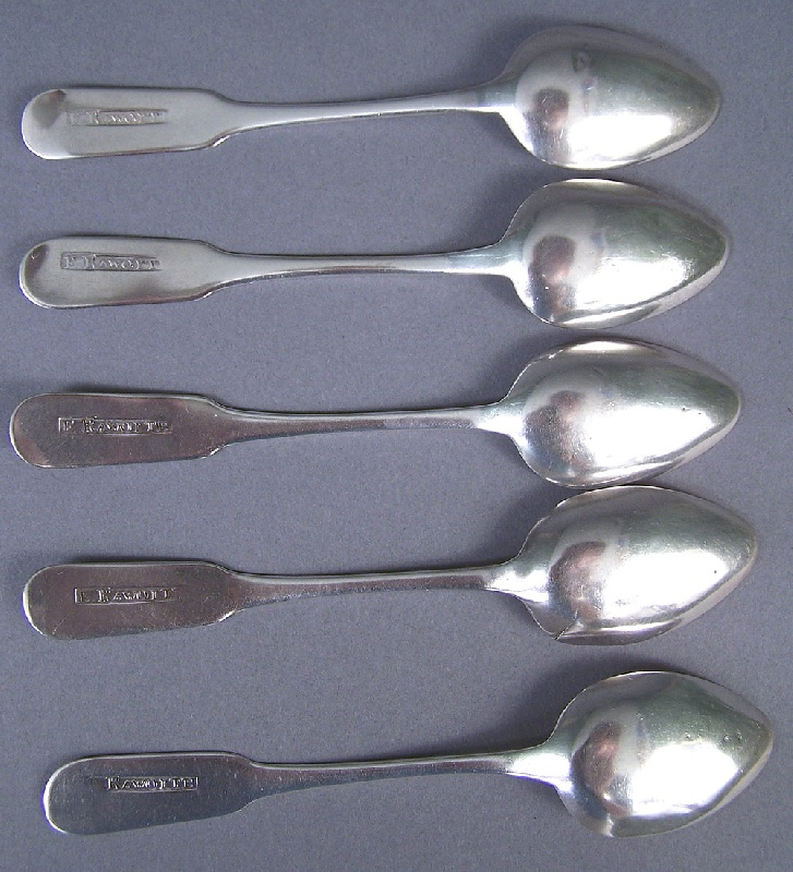 Set of five Tennessee silver spoons, marked E. Raworth