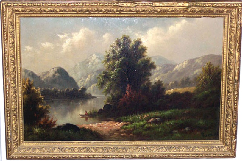 19th century Hudson school style painting of Lake Champlain