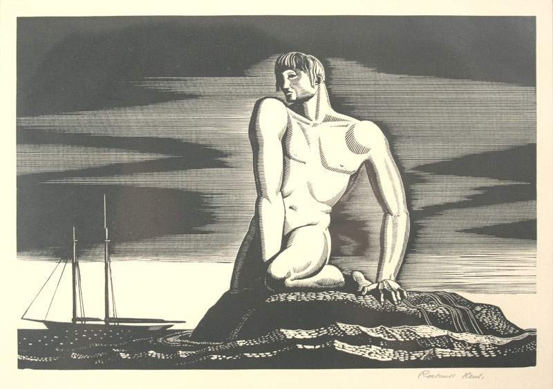 "Rockwell Kent's wood engraving ""The Bather"". Circa 1931. Signed lower right margin. Mallonee estate."