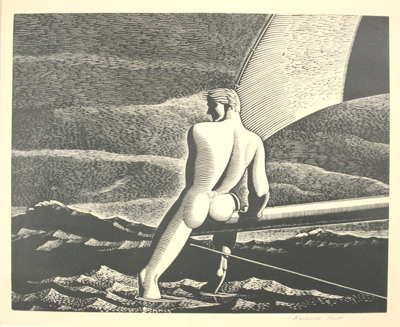 "Rockwell Kent's wood engraving ""Fair Wind"". Signed lower right margin. Circa 1931. Mallonee estate."