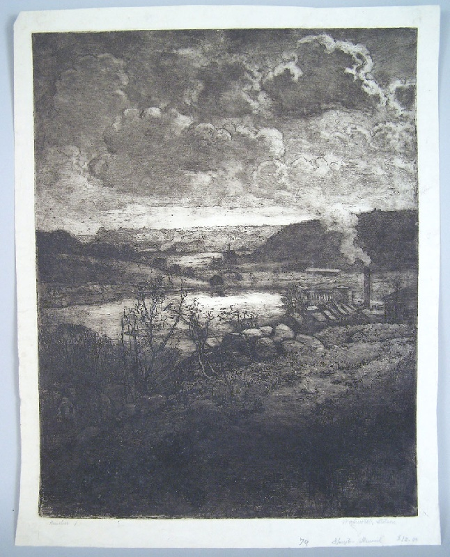 Walworth Stilson etching of landscape with factory (lot#254)
