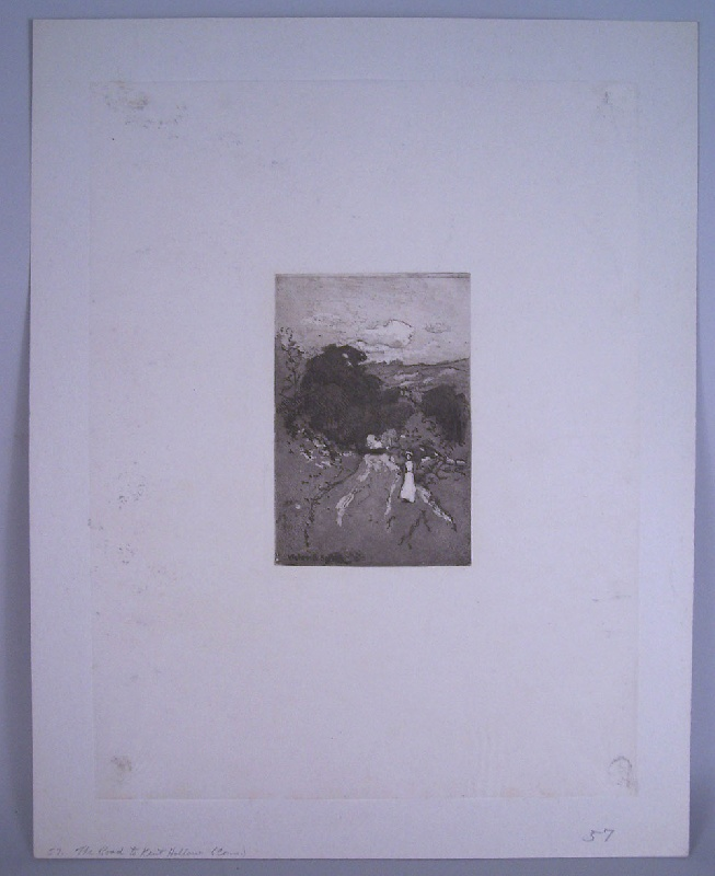 """Walworth Stilson etching """"The Road to Kent Hollow Connecticut"""" (lot#253)"""