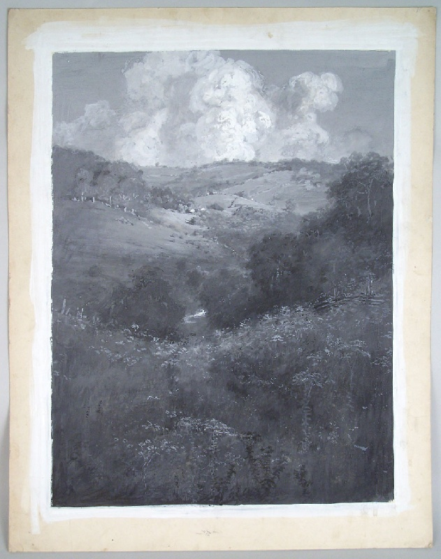 Landscape of rolling hills by Connecticut illustrator, Walworth Stilson (lot#199)