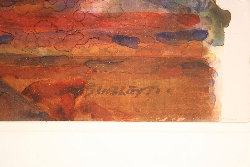 Large abstract watercolor by Carl Sublett (Tennessee, 1919-2008)