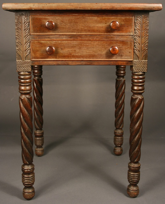 Southern two drawer table with spiral legs, acanthus carving