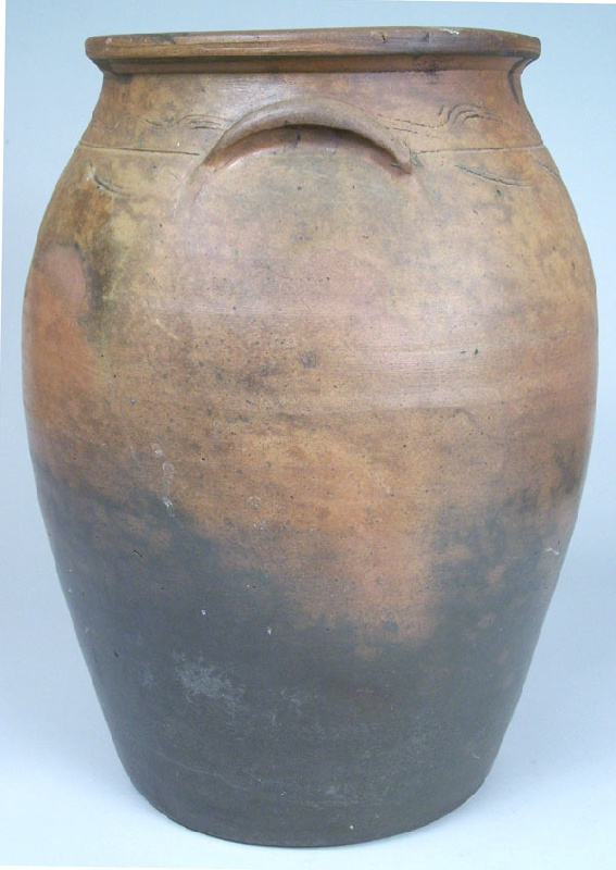 Southwest Virginia or East Tennessee pottery jar with sine wave incising (lot#36)