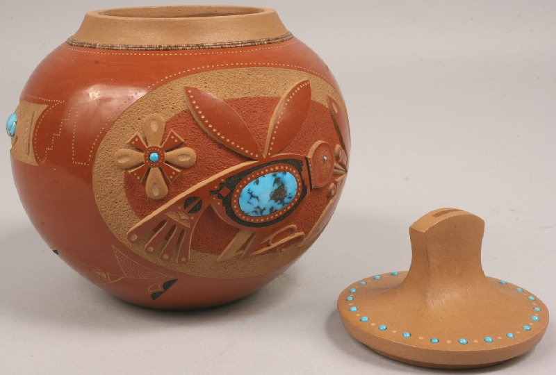 San Ildefonso jar with carved designs, turquoise inserts,  Tony Da