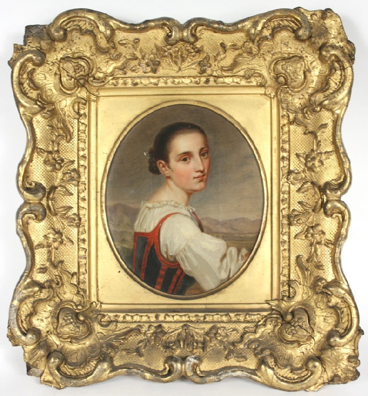 Oil on canvas of a Tyrolean woman owned by Confederate Colonel Randal McGavock