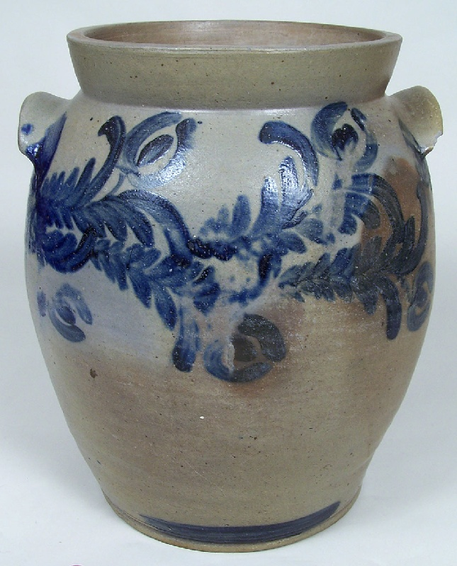 Southern cobalt decorated jar, vine and tulip decoration (lot#168)