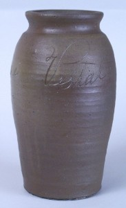 Lot 62: Southern stoneware jar, Jessee Vestal, Washington Co., Virginia, signed and dated