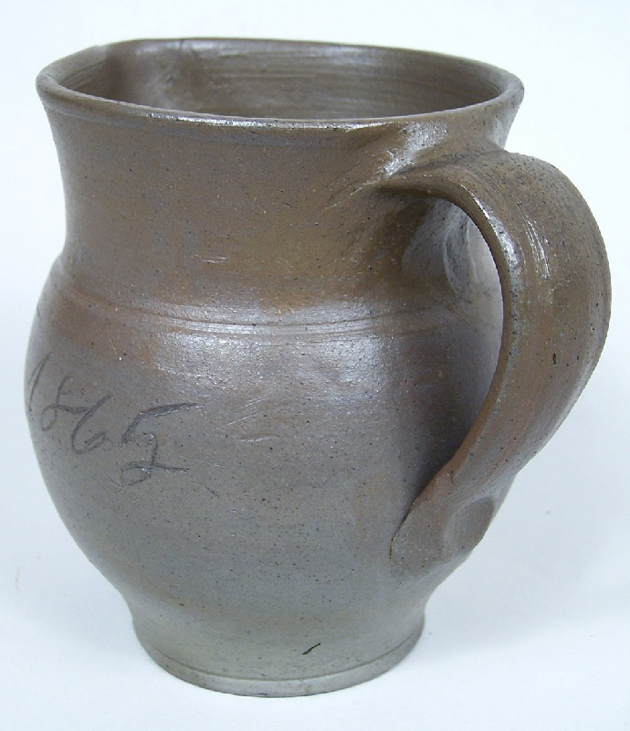 Lot 61: Southern stoneware pitcher, Jessee Vestal, Washington Co., Virginia, signed and dated