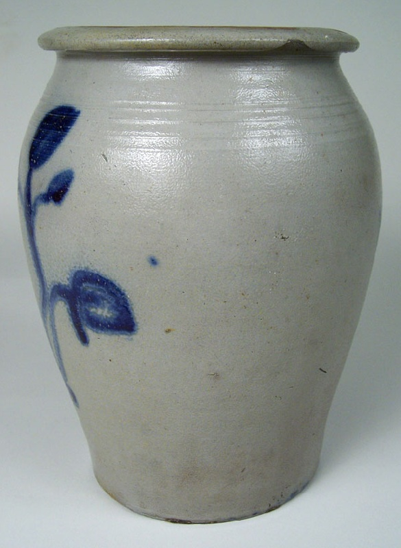Early and rare West Virginia cobalt decorated jar with decorative stamps, attributed to John Wood Thompson (lot #164)