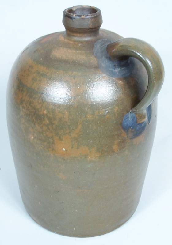 """Extremely rare Knoxville, TN stoneware decorated Weaver jug, stamped, """"WEAVER & OBR."""" (lot#34)"""