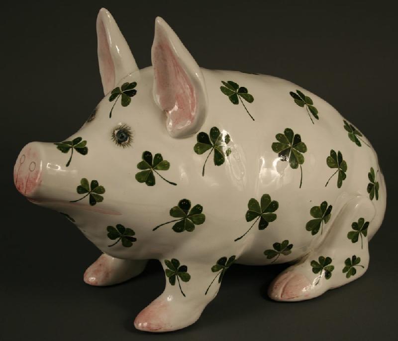 Large Wemyss pig with shamrock decoration, marked Wemyss Ware 14 Made In England