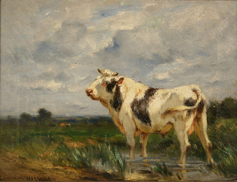 Oil on canvas of cow and pasture by Carlton Wiggins (American, 1848-1932)