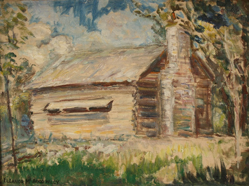 Oil on canvas of the Sam Houston school house by Eleanor McAdoo Wiley (Knoxville, Tennessee, 1876-1977)