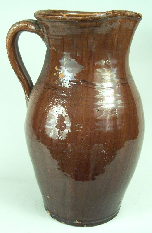 Virginia Wythe County redware pitcher with sine wave decoration (lot#65)