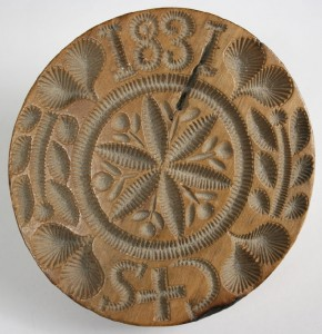 Lot 55: Exceptional carved folk art mold, dated 1831
