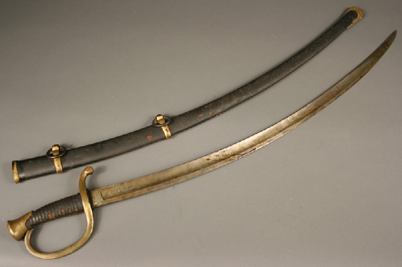 Civil War artillery sword and scabbard, marked 1862