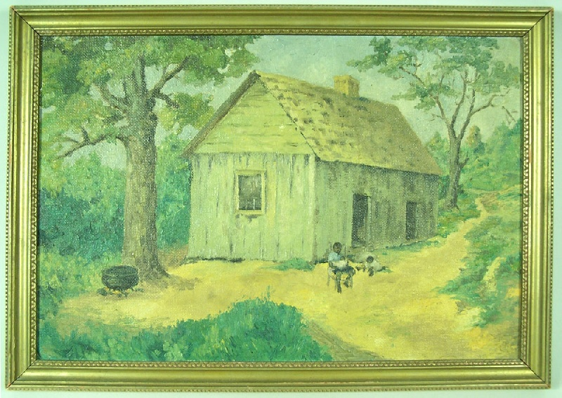 Oil on board of Southern homestead (lot#58)