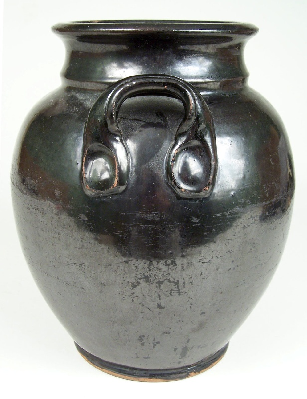 Redware jar with manganese glaze (lot#215)