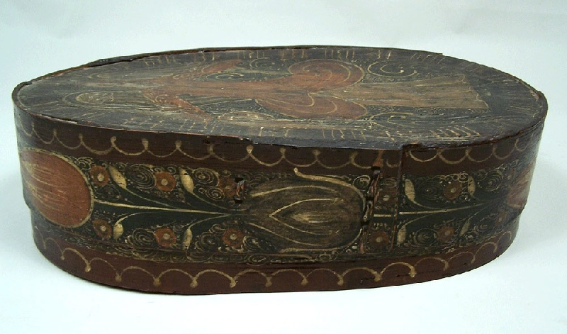 Paint decorated Bride's box with angel and floral designs (lot#204)