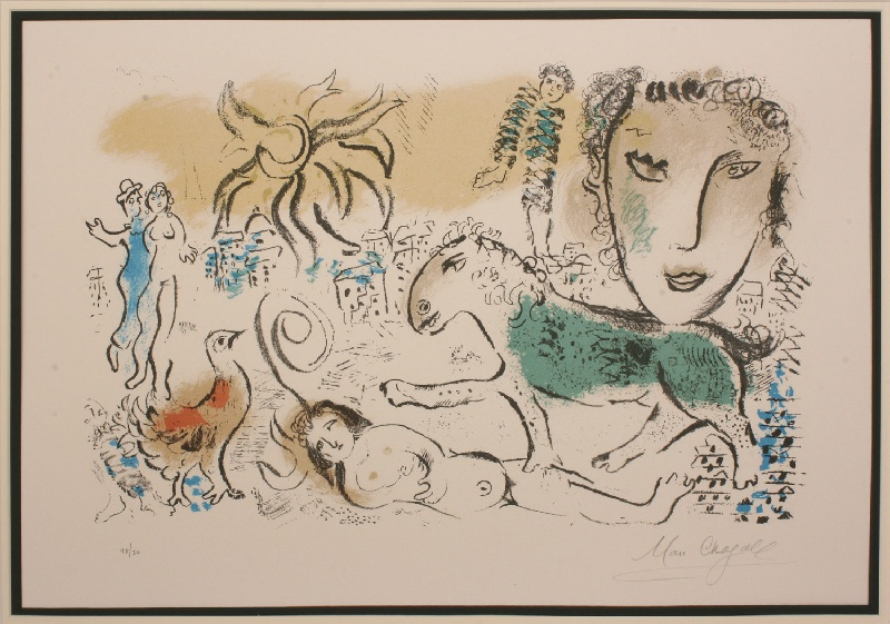 "Marc Chagall lithograph titled ""Monumental"", pencil signed and numbered 48/50"