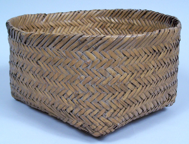 North Carolina Cherokee double woven river cane basket (lot#49)