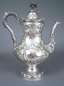 Rare Tennessee coin silver coffee pot, marked W. H. Calhoun  Tenn.