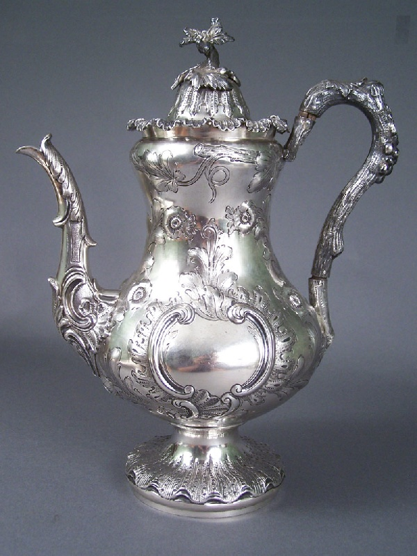 Lot 103: Rare Tennessee coin silver coffee pot, marked W. H. Calhoun  Tenn.
