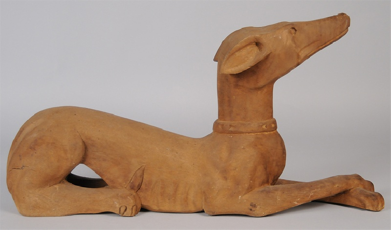 Large East Tennessee folk art carved whippet, Blount Co.