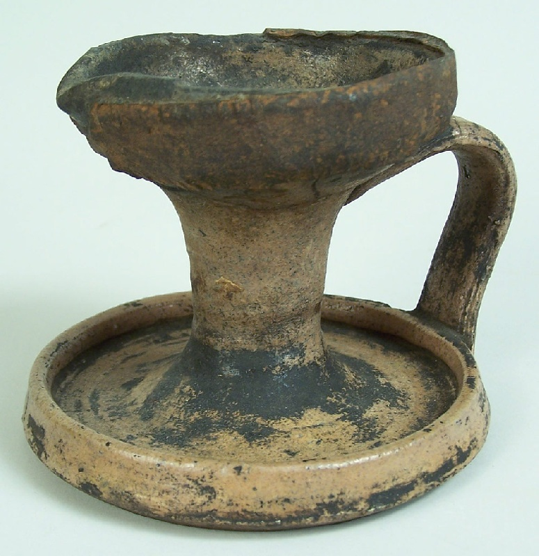 Tennessee or Kentucky early stoneware grease lamp (lot#91)
