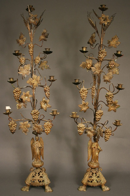 Pair of brass floral candelabras, probably French
