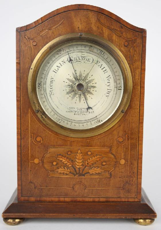 English inlaid shelf barometer