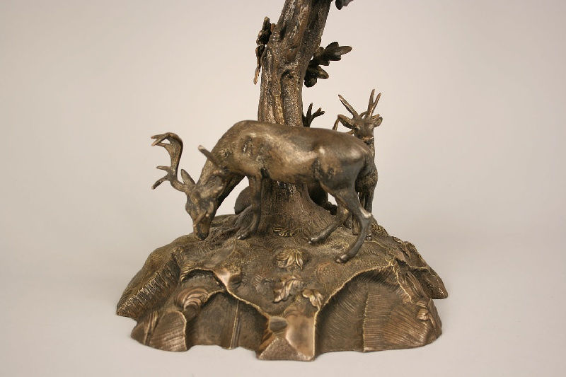 Exceptional gilt bronze epergne with a naturalistic live oak form, deer base