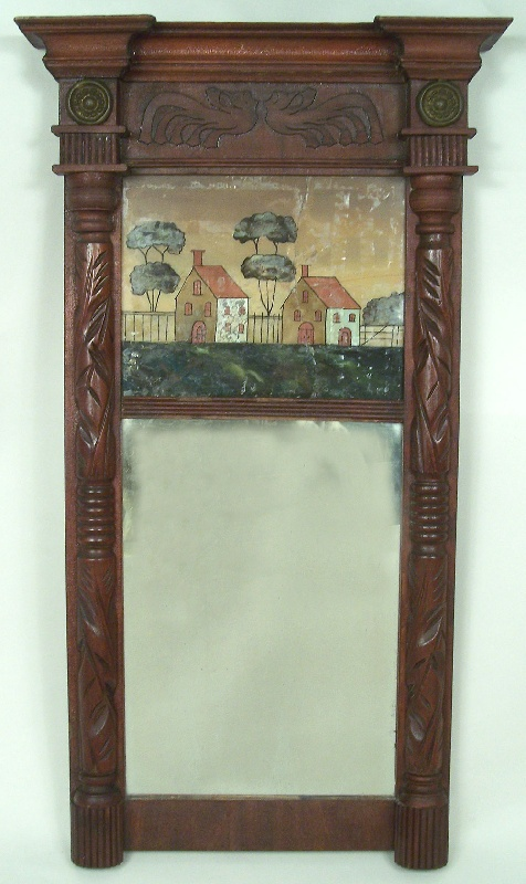 Federal mirror with carving in frieze, eglosime painted scene (lot#210)