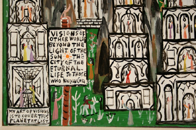 Large oil on board painting by Howard Finster (American, 1916-2001)
