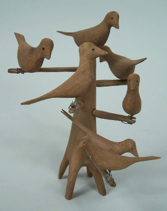 Southern folk art carving of birds on stand (lot#176)