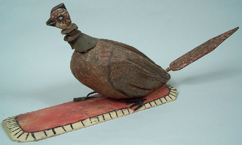 Tennessee folk art carved and painted pheasant (lot#179)