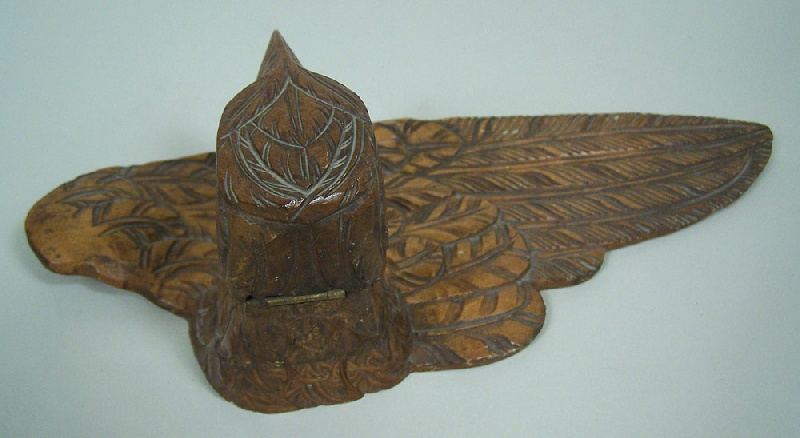 Folk art carved inkwell and quill (lot#177)